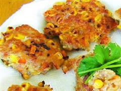 马蹄粟米煎肉饼