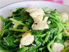 蛤仁菠菜炒鸡蛋