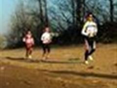 跑步,在小路上,小组跑
